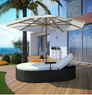 ... Nagoya Dual Outdoor Patio Chaise, Espresso White, Outdoor Daybeds,  Outdoor Furniture, Outdoor