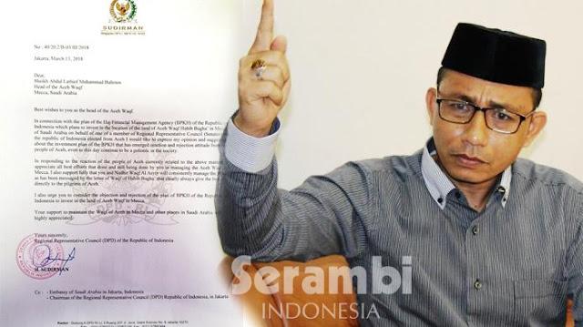 DPD Aceh Surati Nazir Wakaf Aceh di Arab Saudi, Tolak Rencana Investasi Indonesia