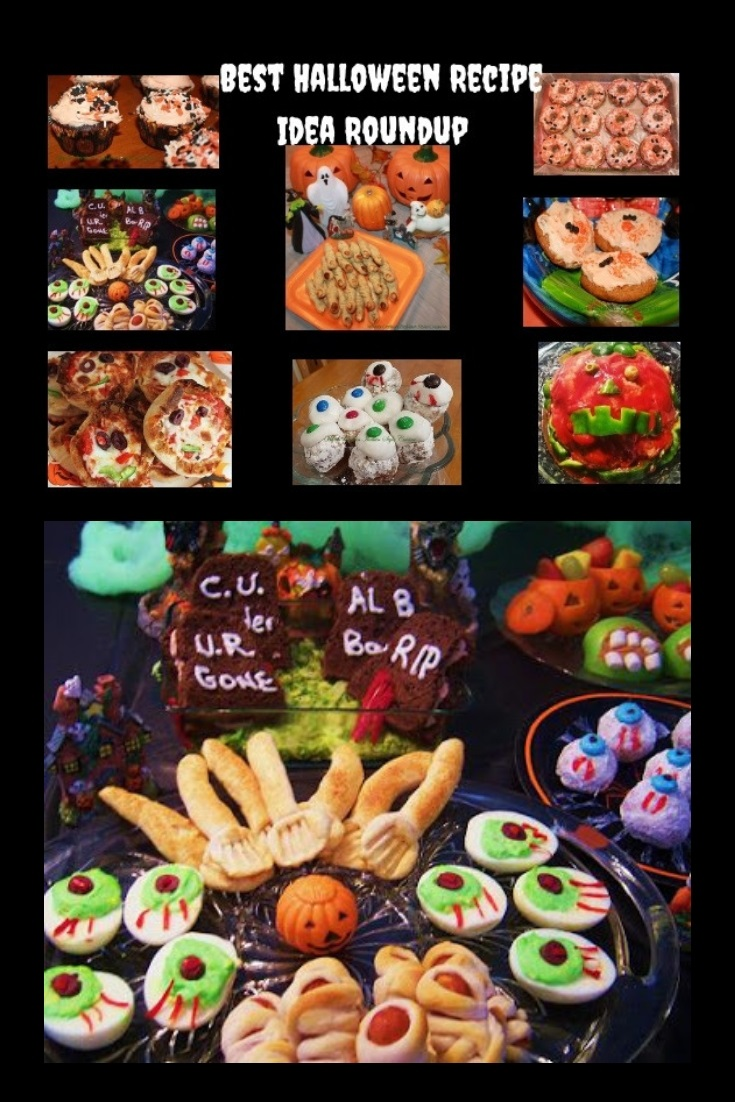 this is a collage of recipes for a halloween party with cheesecalls, pumpkin heads, ghoulish treats, brownies wiht head stones, pumpkin cookies and mummy's  cupcakes, donuts, pumpkin sandwiches, halloween party treats and tricks