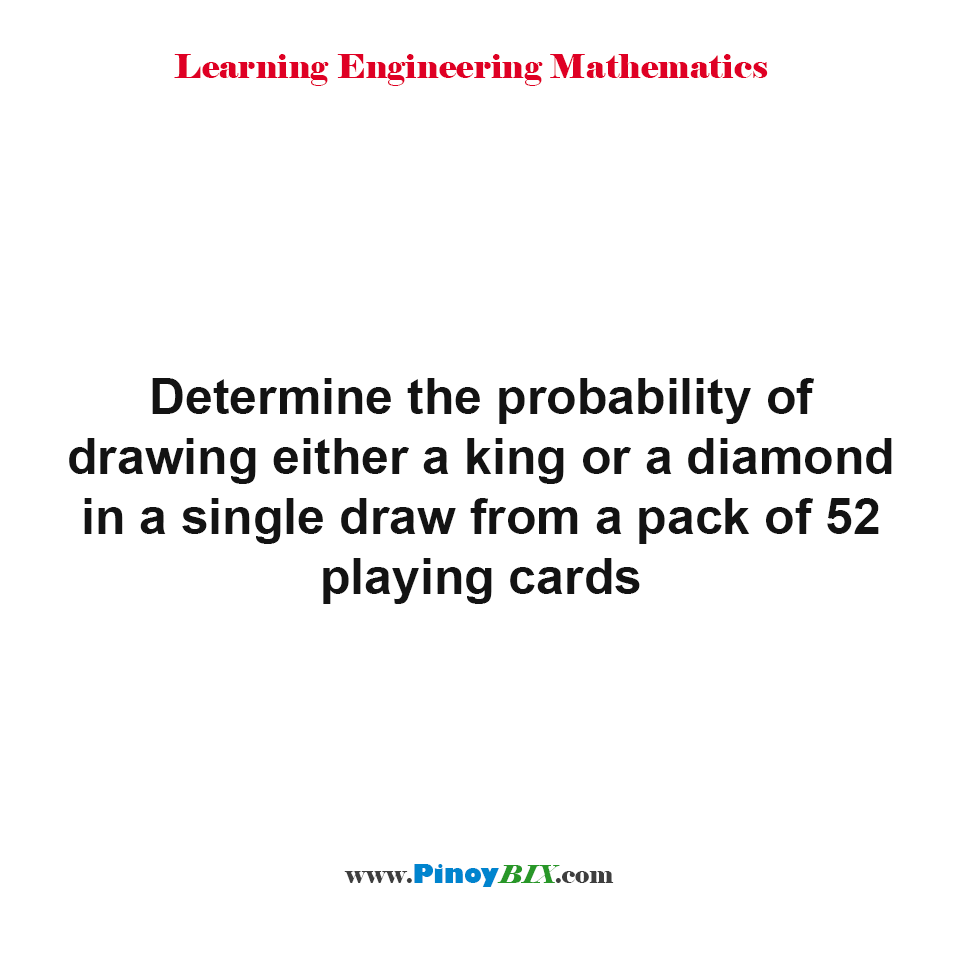 Determine the probability of drawing either a king or a diamond in a single draw