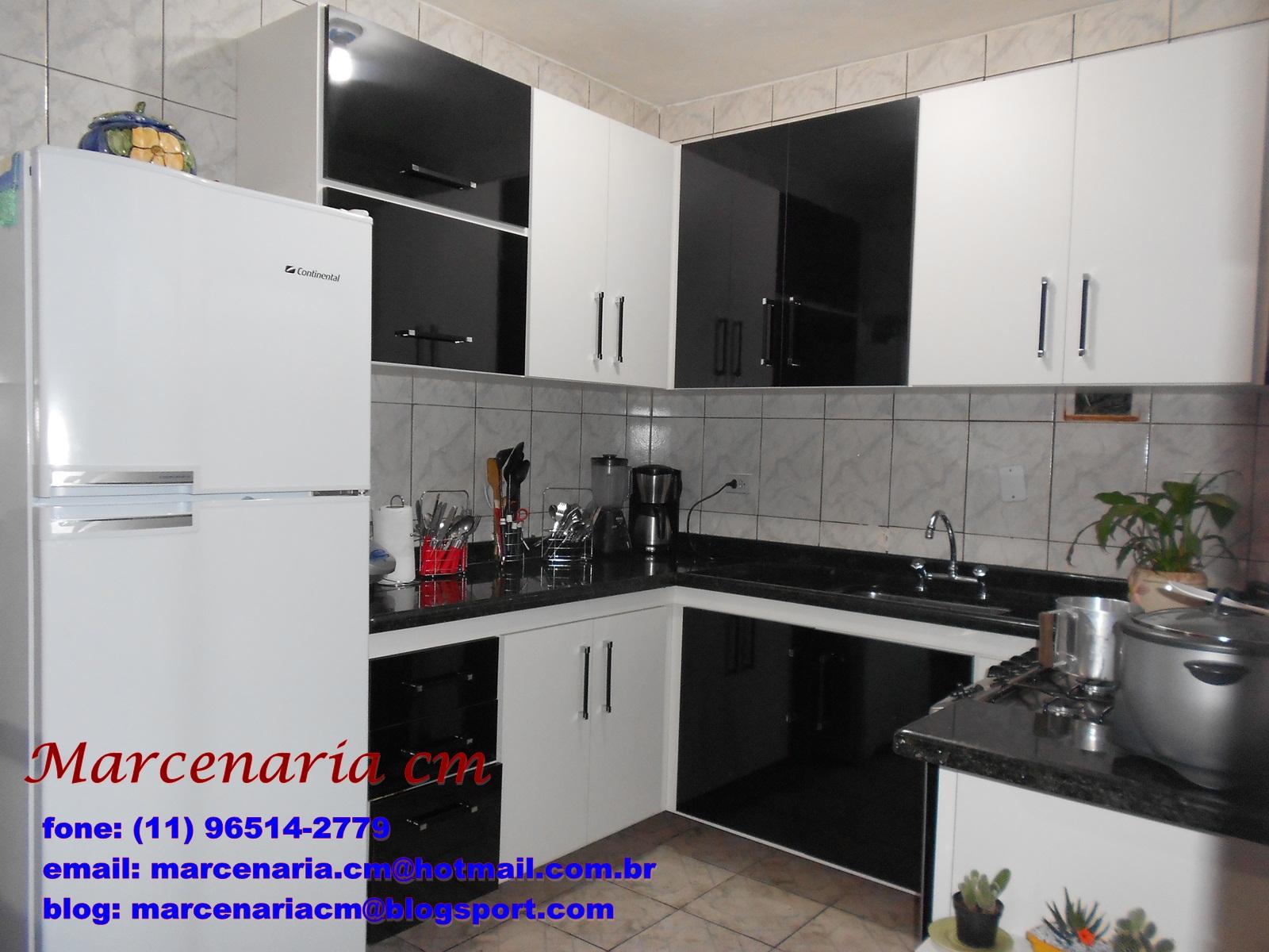 Armario De Cozinha Juliana Preto E Branco Cozinha Compacta Juliana