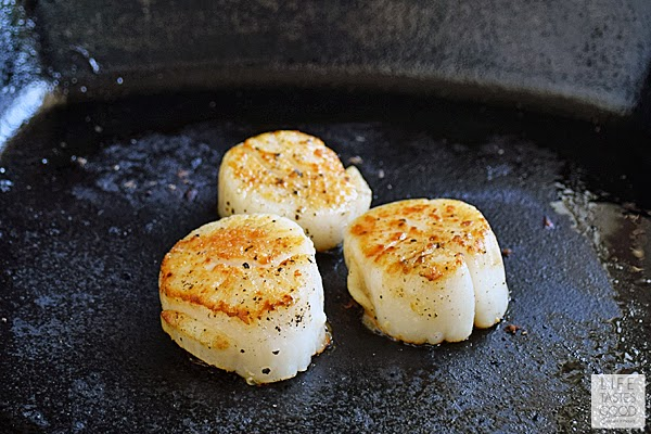 Pan-Seared Scallops with Corn Puree | by Life Tastes Good - Scallops