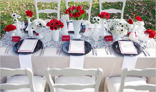 Black Red And White Wedding No 3 Medium Tall Vases With Tulips Poppy Plates Grey Table Wear