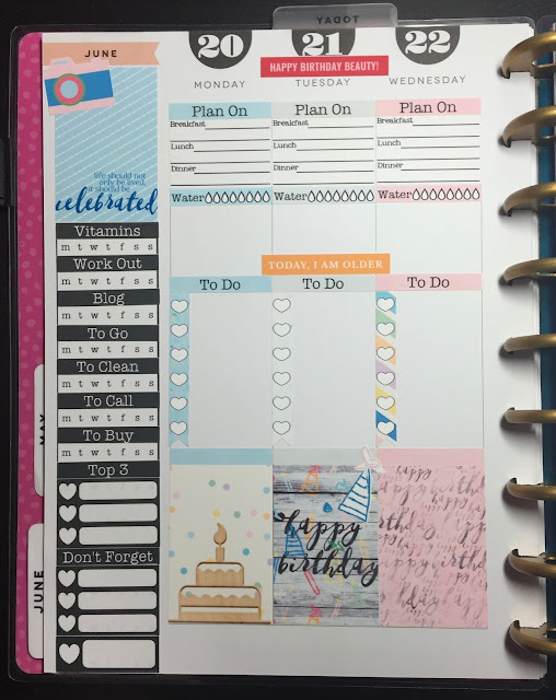 Left Side of my weekly spread in my Happy Planner using the free Birthday 3 Sampler from myplannerenvy.com