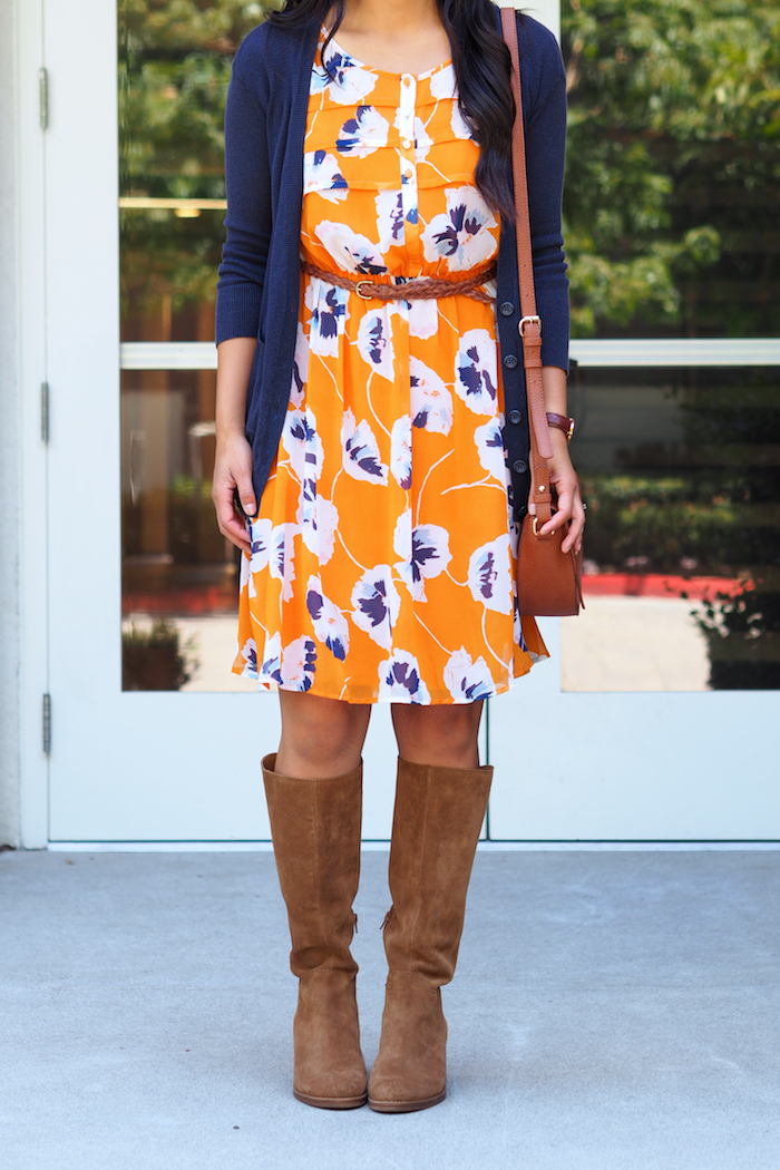 orange floral print dress + tan suede boots + navy cardigan + tan accessories