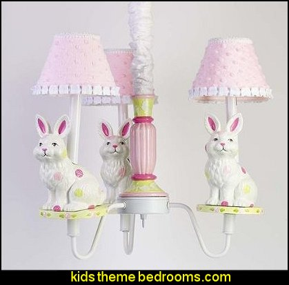 3 Arm Bunny Dot Chandelier with Shades - Pink-Lime