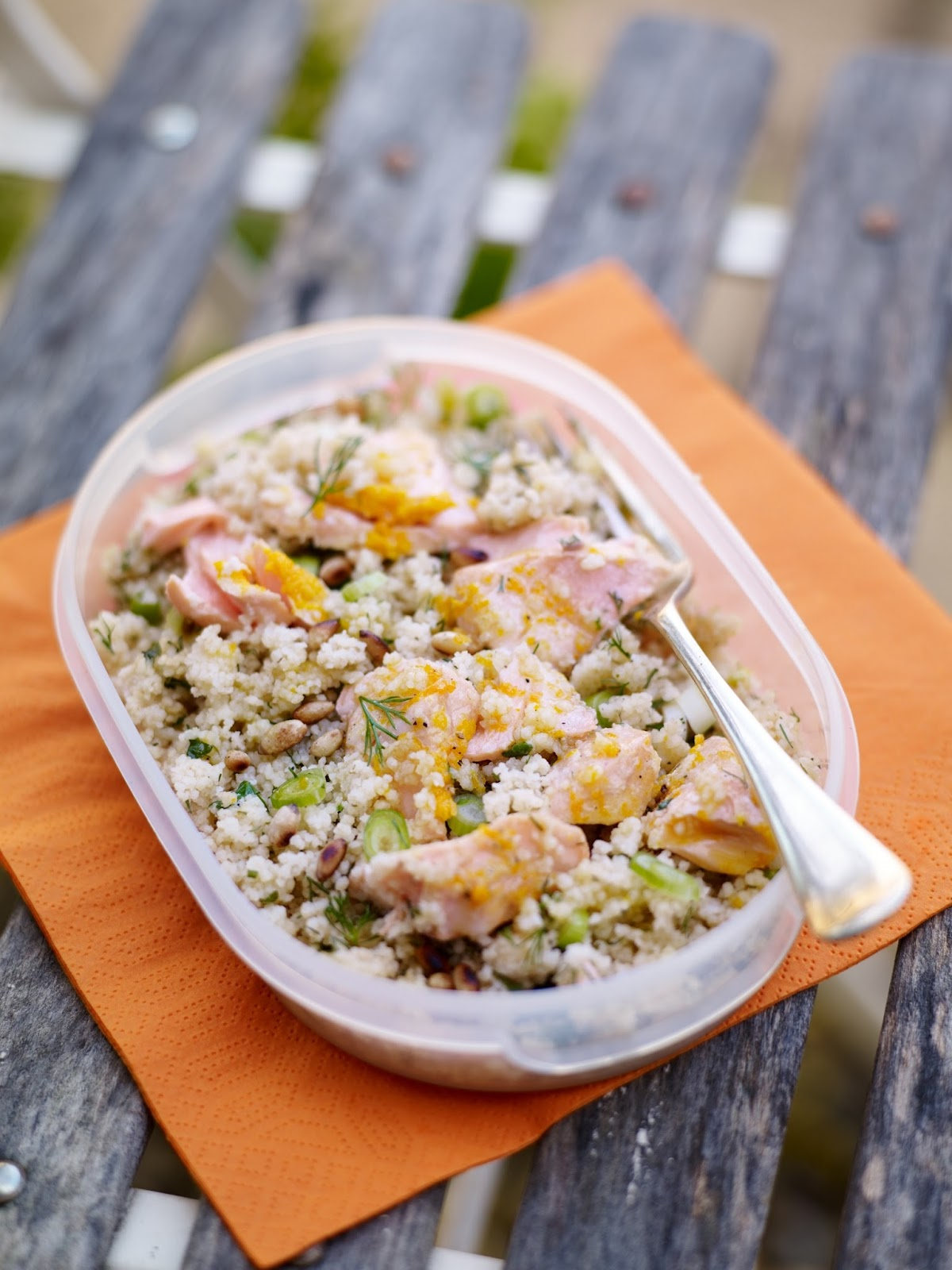 Salmon And Herby Couscous With Orange Dressing...