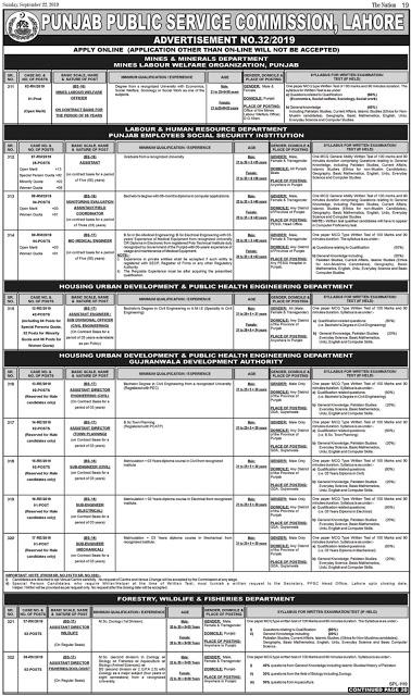 PPSC Jobs 2019 Punjab Public Service Commission Lahore advertisement No.32/2019