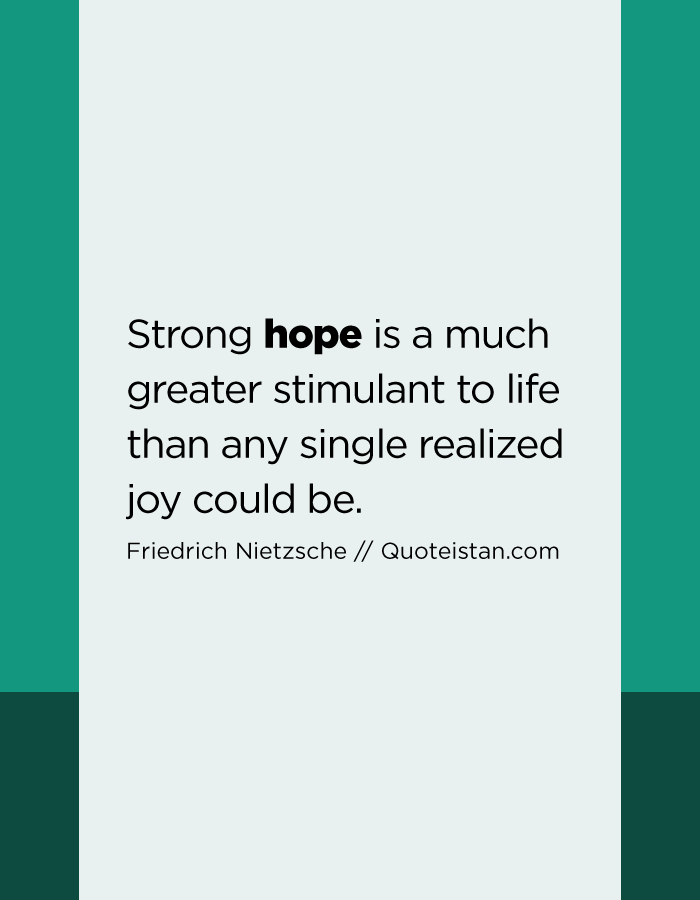 Strong hope is a much greater stimulant to life than any single realized joy could be.