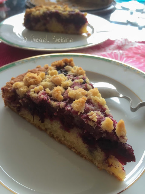 sweet kwisine, gâteau, gouter, coffee cake, cassis, fruits rouge, streusel