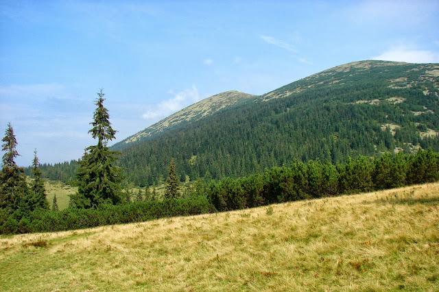 Вид от урочища Пекло: Большая Сивуля (слева) и Малая Сивуля (справа)
