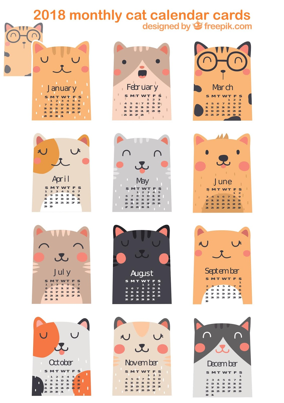 Free Cat Images Free Printable Monthly Cat Calendar Cards