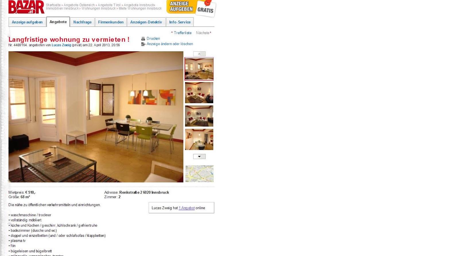 23 april 2013 for Wohnung zu vermieten