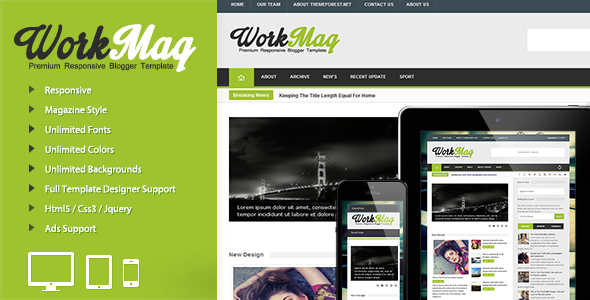 Download Free Work Mag Blogger Template