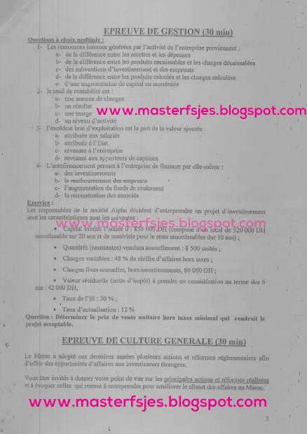 Concours d'accès au Master Comptabilité Contrôle Audit (CCA) 2009-2010