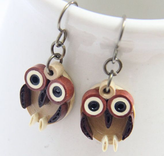 Small owl quilling earring designs for kids - quillingpaperdesigns
