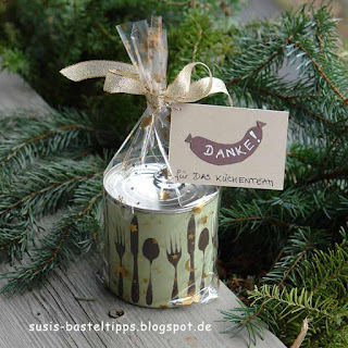 kreative Geschenkverpackung in einer Dose mit Stampin' Up! und DIY Stempeln aus Moosgummi