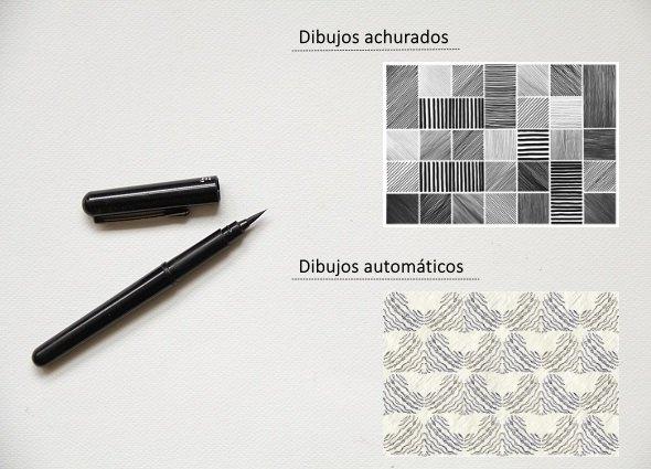 dibujos automáticos, dibujos achurados, técnicas dibujo, manualidades