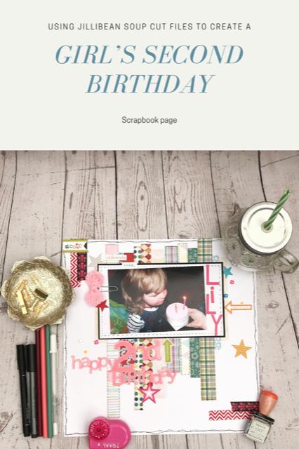 A second Birthday Scrapbooking Page - using up paper scraps- Rachel Gillham Art