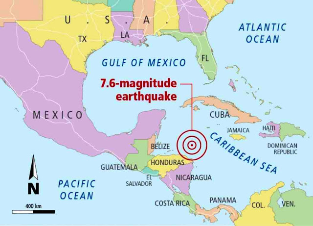Magnitude 7.6 earthquake strikes off Central America, USGS says