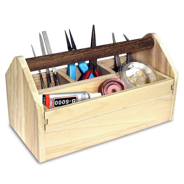 Shop Natural Wood Color Wooden Craft Tool Box With Handle at Nile Corp
