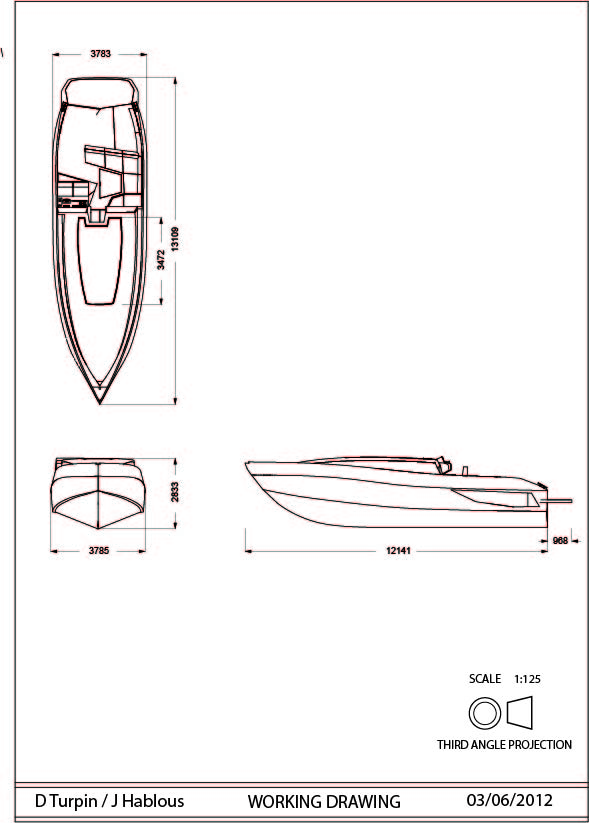 Jd Boat Design Orthographic Drawings
