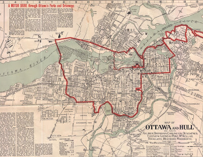 Map of Ottawa and Hull, showing most of the cities but cropping out additional text and map features. Extents are Rockcliffe/Eastview (Vanier, East), Hog's Back (South), Woodroffe and Aylmer's Connaught racetrack (West) and Leamy Lake (North). The map has streets and railroads drawn as lines, water coloured pale blue, and prominent buildings drawn in with symbols to indicate if it's a church, school, etc. At the top left is four columns of text with a red headline 'A MOTOR DRIVE through Ottawa's Parks and Driveways'. A red line follows certain streets around the map, with an outer loop going (if clockwise) north on Sussex to and around Rockcliffe, down Mackay in New Edinburgh to the St. Patrick St bridge, south on Charlotte, east on Laurier, south on Elgin with a detour around the Victoria Memorial Museum Building, looping around the Glebe on the FDC Driveway, through the Experimental Farm, east on Carling, north on Island Park Drive to the Aylmer Road in Hull, connecting back up over the Alexandra Bridge with Sussex, where an extra segment connects with Parliament Hill. A thinner red line follows Wellington west into LeBreton Flats and up Booth Street to Hull.