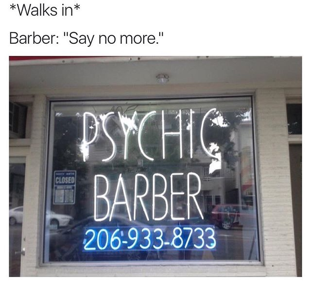 Funny Psychic Barber Sign Joke Picture
