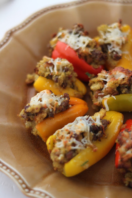 Serve these easy to make, Colorful Cornbread and Sausage Stuffed Mini Peppers Recipe for the Holidays!