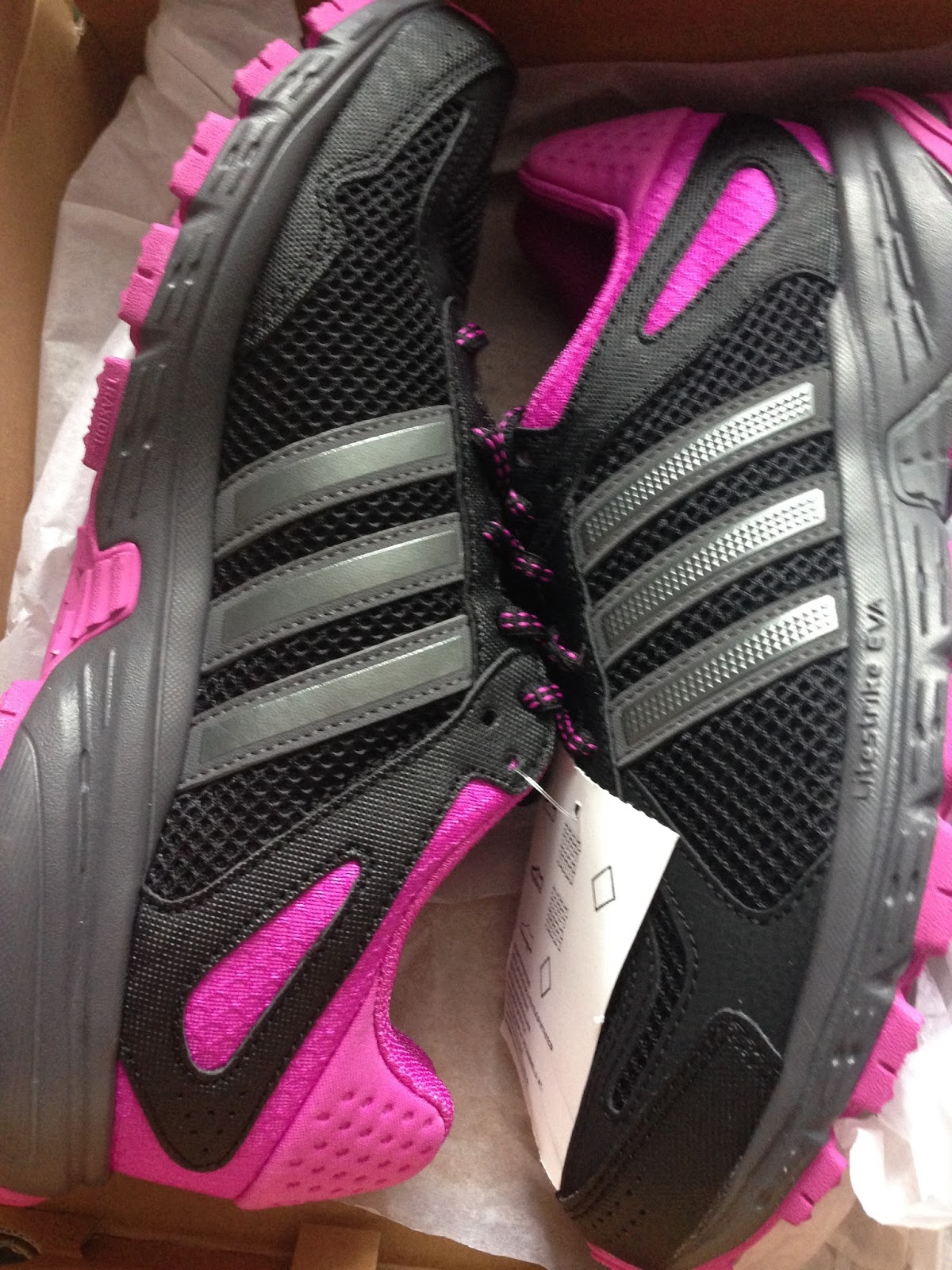 New addidas trainers in black and pink