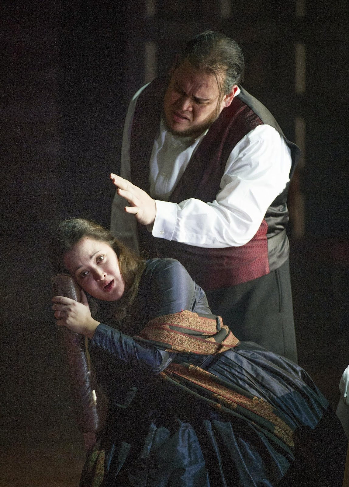 Quinn Kelsey and Anna Christy in Christopher Alden's production of Verdi's Rigoletto - ENO - Photo credit Alistair Muir