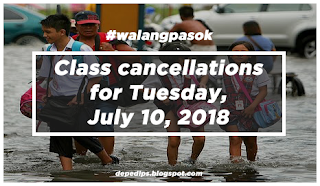 #WalangPasok: List of Areas with Class Suspension July 10, Tuesday