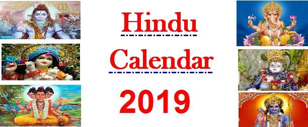 Hindu Calendar 2019