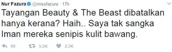 Jawapan win untuk yang netizen mengamuk bila Beauty And The Beast ditangguhkan tayangan