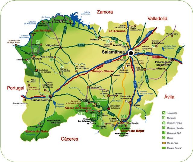 Provincia De Salamanca Mapa.Mapa De Salamanca Y Sus Pueblos Mapa