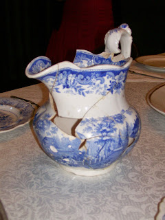 Re-constructed blue transferware pitcher from the Edwards House, Springfield, IL.