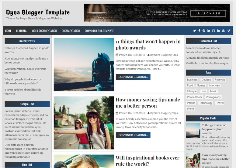 Dyna Blogger Template is a build clean as well as elegant Free Download Dyna Blogger Template