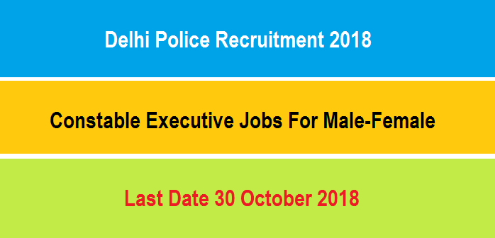 दिल्ली पुलिस भर्ती | Delhi Police 130 Posts (Constable Executive) Recruitment 2018.