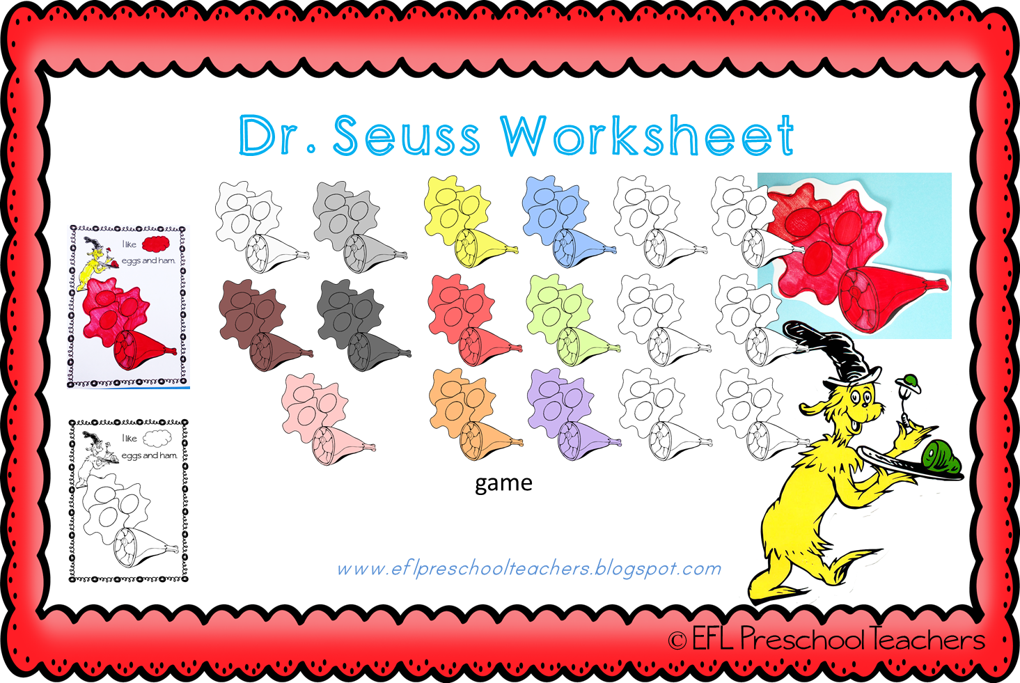 Esl Efl Preschool Teachers Dr Seuss Worksheets For Ell
