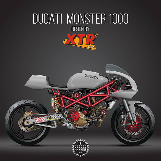 XTR Pepo Ducati Monster - Concept Illustration by Vector Garage