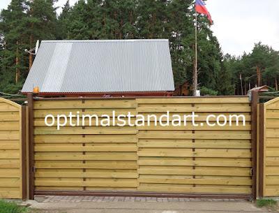 Красивые откатные деревянные ворота Новосибирск