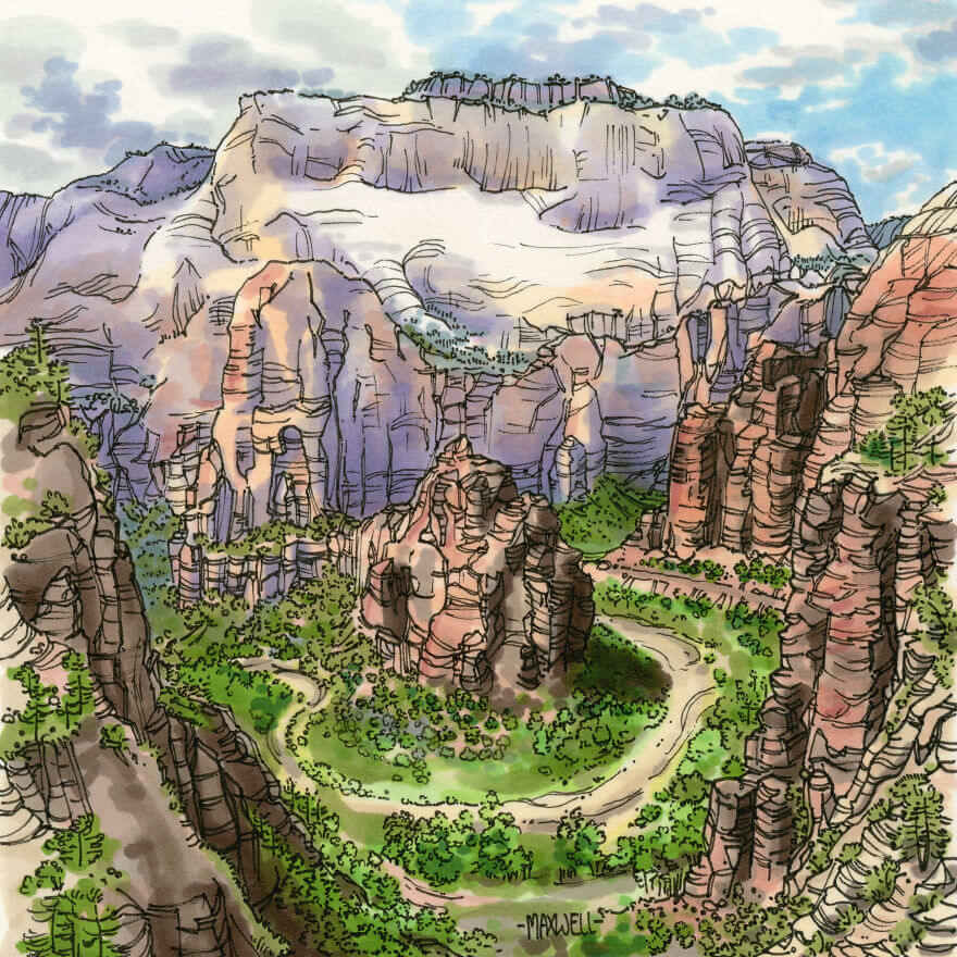 13 Artistic Illustrations Of Famous Places Around The World - Zion National Park, Utah, USA