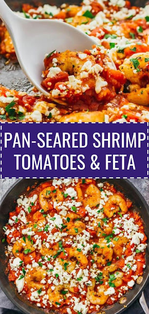 Pan Seared Shrimp with Tomatoes, Feta, and Garlic