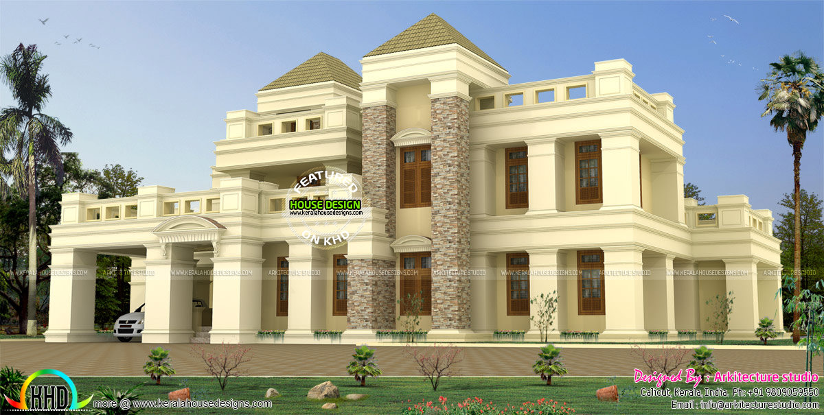 399 sq m luxury colonial home kerala home design and for Colonial luxury house plans