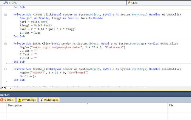 Cara Membuat Aplikasi Penghitung Luas Tabung VB.NET