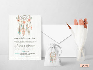 wedding invitations with dream catcher