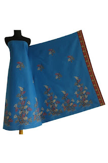 Kain Batik dan Embos 278 Pekalongan motif daun Biru
