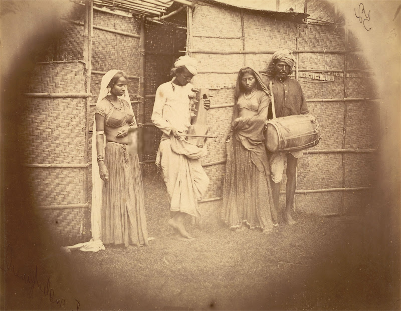 Two Male Musicians and Two Female Dancers - Eastern Bengal 1860's