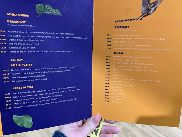 A page of the menu at Dinotropilis showing the hot food