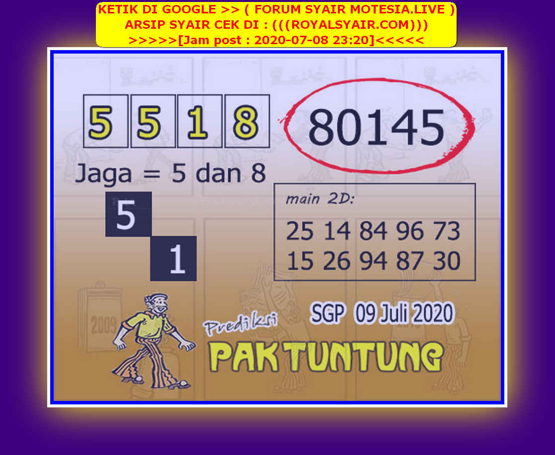 Kode syair Singapore Kamis 9 Juli 2020 245